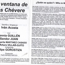 Program for the staged reading, La ventana de los Chéveres