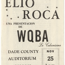 "Playbill for the concert, ""Elio Roca"""