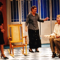 "Photograph of Déxter Cápiro (Vicente), Patricia Azán (Emilia) and Anna Silvetti (Laura) in the production, ""El no"""