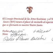 Invitation for an event at Teatro Sauto