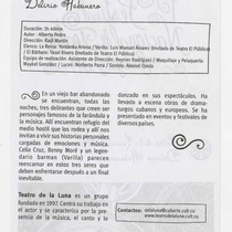 "Program for the production, ""Delirio habanero"""