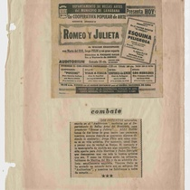 "Newspaper clipping for the production, ""Romeo y Julieta"""