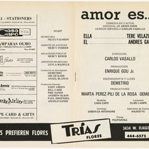 "Program for the production, ""Amor es…"" (Love is...)"