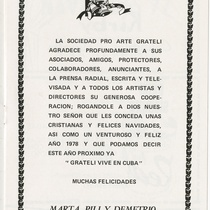 "Program for the production, ""Navidades 77"" (Christmas '77)"