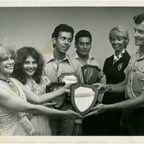 "Teresa María Rojas, Lourdes Menci, Reynaldo González and Patricio Palacios holding performance award for the production, ""El Gran Teatro del Mundo"""