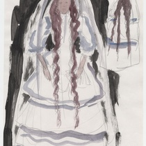 "Costume sketch for the character ""Clara"" for the production, ""Los fantasmas de Tulemón"""