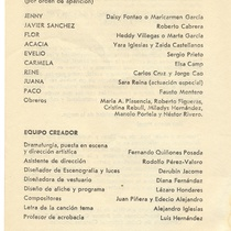 "Program for the production, ""La primera vez"""