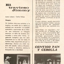 "Program for the production ""El travieso Jimmy, Bodas de sangre, Contigo pan y cebolla"""