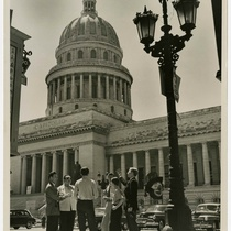 Photograph of Drama Department members in front of the Capitol