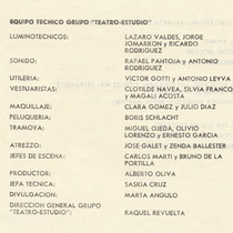"Program for the production ""La malasangre"""