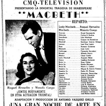 "Press clipping of the production, ""Macbeth"" with Raquel Revuelta and Manolo Coego"