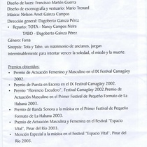 "Program for the production, ""Dos viejos pánicos"""