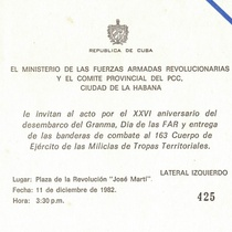 Invitation for the Celebration of XXVI Anniversary of the Landing of the Granma Yacht