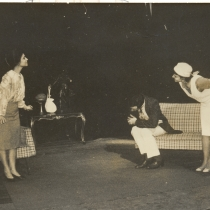 "Scene for the production, ""La cantante calva"""