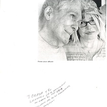 Copy of a photograph of Francisco Morín and Teresa Rojas, with a handwritten note by Morín