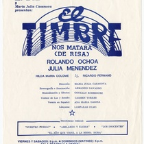 "Poster for the production, ""El timbre"""