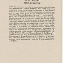 "Program for the production, ""La última carta de la baraja"" (Teatro Estudio)"