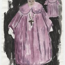 "Costume sketch for the character ""Monseñor"" (Monsignor) for the production, ""Los fantasmas de Tulemón"""