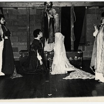 "Edwin Avila (Priest), René Troche (Francesco), Ilka Tanya Payan (bride), in the production,  ""Francesco: Vida y milagros de los Cenci"""