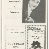 "Program for the production, ""La verbena de la paloma"" (Fair of the dove)"