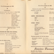 "Program for the productions, ""Tierra"", ""Meditación en tres por cuatro"", ""Pan viejo"", Gente desconocida"", and ""Doble juego"""