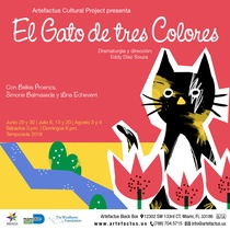 Postcard for the theatrical production, El gato de tres colores