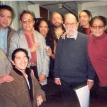 Cast of Repertorio Español with Abelardo Estorino and Adria Santana in the offices of Repertorio