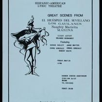 "Poster for the production, ""El huésped del sevillano"", ""Los Gavilanes"", ""Naughty Marietta"" and ""Marina"""