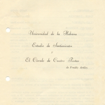 "Program for the productions, ""Estudio de sentimientos"" y ""El círculo de cuatro puntas"""