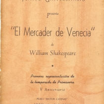 "Program for the production, ""El mercader de Venecia"""