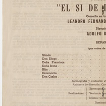 "Program for the production, ""El sí de las niñas"""