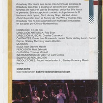 "Program for the production ""Broadway Rox"""