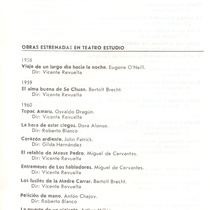 "Information leaflet about the history of the ""Grupo Teatro Estudio"""