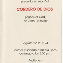 "Invitation for the production, ""Cordero de Dios"""