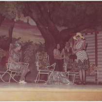 "Teresa María Rojas (Sra. Potts), Alina Interián (Madge Owen), Rosa Felipe (Rosemary Sidney), and Jorge Pérez (Alan Seymour), in ""Picnic"""