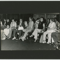 Francisco Fernández, María Meilán, Lydia Cabrera, Teresa María Rojas, and  Josefina Llanes in a drama class at the Miami Dade College