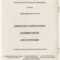 "Program for the productions, ""Los Fantoches"", ""Chamber music"", and ""Ejercicio a Constantino"""