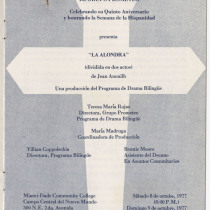 "Program for the production, ""La alondra"""