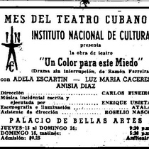 "Press clipping of the production, ""Un color para este miedo"" (Havana, 1957)"