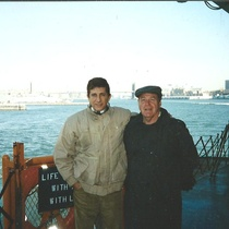 Photograph of NIcolás Dorr and Pedro Monge Rafuls on the ferry to Staten Island