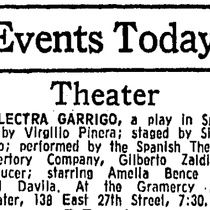 "Press clipping for the production, ""Electra Garrigó"" (New York, 1973)"