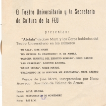 "Poster for the production, ""Abdala"" and for the spoken choruses, ""Mi raza"", ""No olvides al campesino"", ""Marcha triunfal del ejército rebelde"", ""Las carretas"", ""Danza negra"", and ""Fragmento de 'La historia me absolverá'"""
