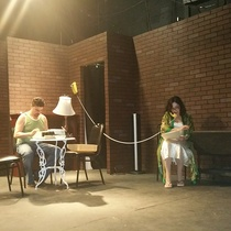 Photographs of rehearsal for the theatrical production, Un mundo de cristal
