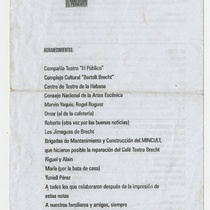 "Program for the production ""2 Comedias"""