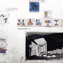 Set design drawing for the theatrical production, La Cucarachita Martina y el Ratoncito Pérez